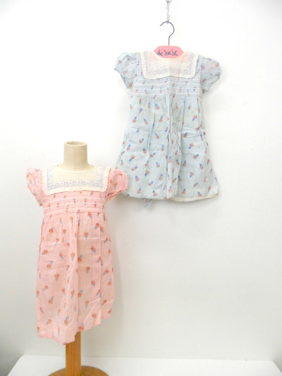 Antique 1930s Twins Dresses...Pink & Blue Flower M