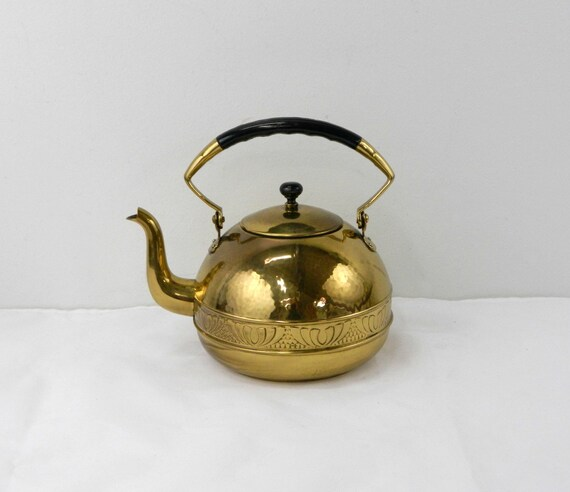 Vintage German Brass Teapot Hammered Brass Tea Kettle Etsy