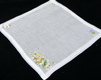 Vintage Embroidered Linen Handkerchief...Beautiful embroidered pastel flowers in each corner