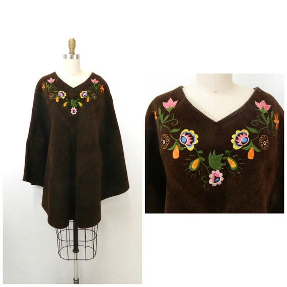 Vintage 1960s Poncho...Brown Suede Leather Poncho.