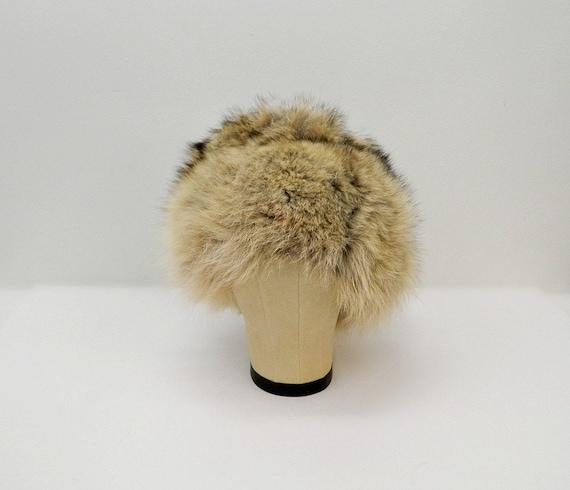 Vintage 1960s Fur Hat ... Tan, Brown, Black Racco… - image 2