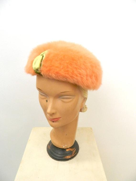 1950s Marabou Women's Designer Hat ... Peach Marab