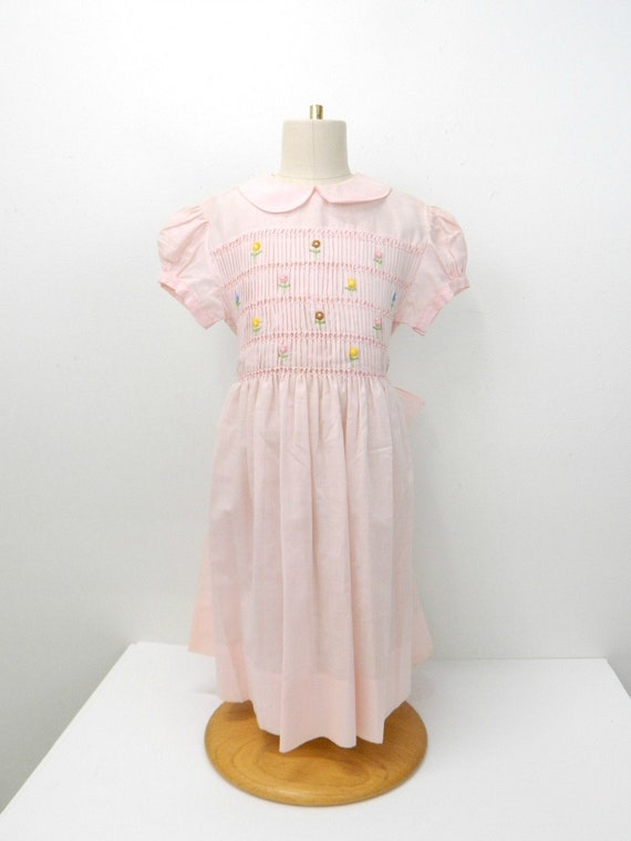 1960s Toddler Girls Smock Dress...Pale Pink Embroi