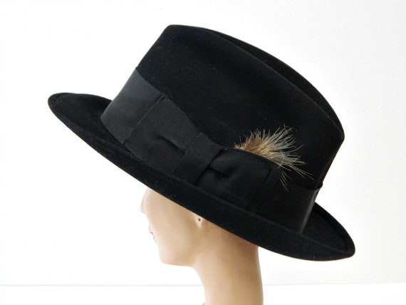 Vintage Black Fedora...Youth or Small Women's...Vi