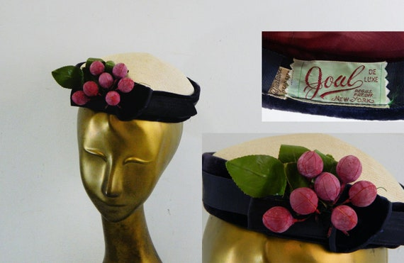 Pillbox Hat with Grape Cluster ... Vintage 40s Nov