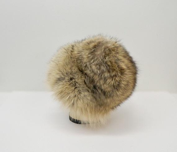 Vintage 1960s Fur Hat ... Tan, Brown, Black Racco… - image 4