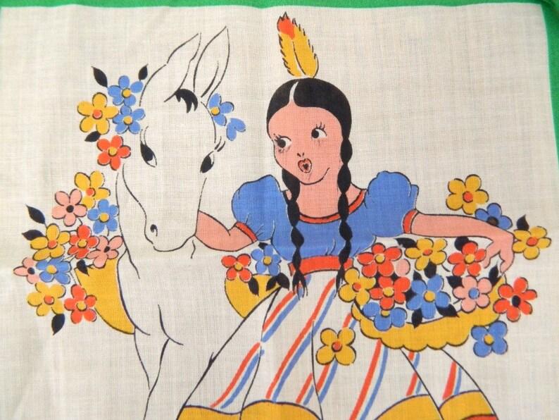1960s Children/'s Handkerchief...Child/'s Hankie...Native American Girl with Horse...Flowers...Colorful Folk Art Collectible Hankie Napkin
