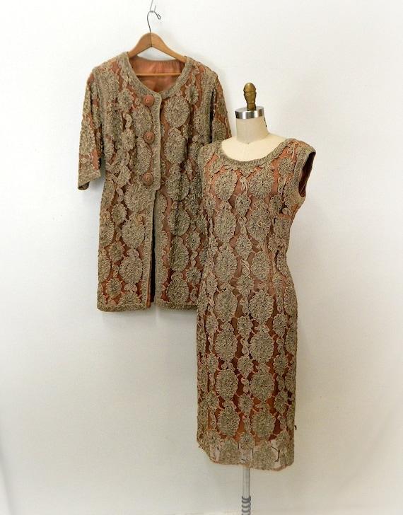 Vintage Soutache Dress Suit ... 1960s Sheath Dress