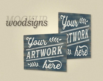 Mockup frameless woodsigns on transparent background