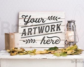 Mockup clean autumn interior photo - pallet sign mockup - Present art - photorealistic psd smart object - mock up empty woodsign