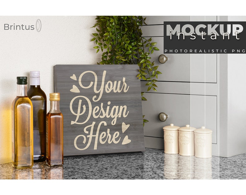 Instant mockup Wood Sign Kitchen Cutting Board  any color  image 0