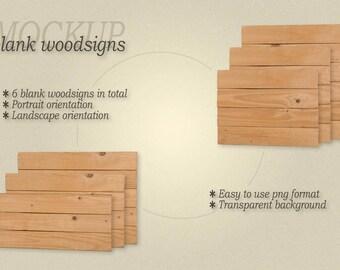 Mockup frameless blank woodsigns