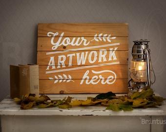 Mockup romantic autumn interior photo - pallet sign mockup - present art - photorealistic psd smart object - mock up empty woodsign