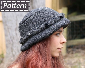 3b03ae90 Carrie Walking Hat Pattern / Small Medium Large Adult Sizes Traditional Irish  Hat / Handmade Bucket Hat / Cloche / Womens Hat / DIY Knit Hat