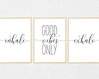 Inhale Exhale, Good Vibes Only, Modern Minimalist Motivational Poster, Typography Wall Art, Inspirational Print, Vibes Wall Art, Nursery Art