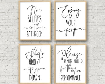 Bathroom wall art no selfies in the bathroom enjoy your poop please remain seated bathroom prints funny toilet sign funny bathroom signs