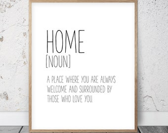 Home Definition Sign Decor Wall Art Quotes Print Modern Printable Ar Funny Poster