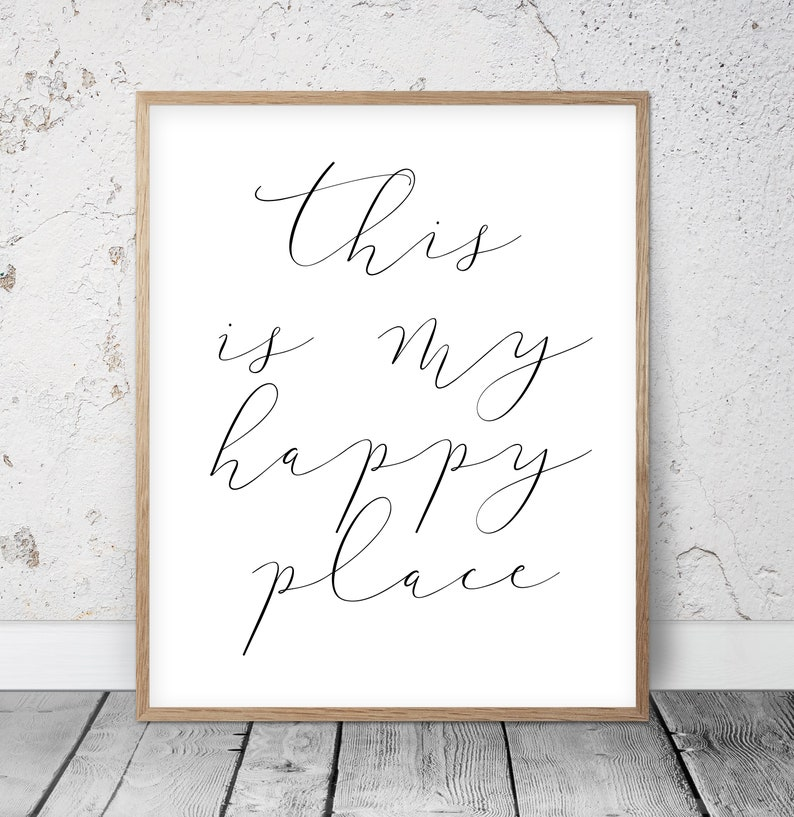 This Is My Happy Place, Welcome Printable Sign, Entrance Wall Decor, Guest  Room Printable, Office Quote Print Motivational Quotes Dorm Room