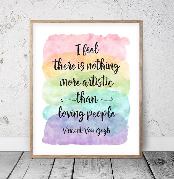 Vincent Van Gogh Cytaty Vincent Van Gogh Print Druk Tęczowy Etsy