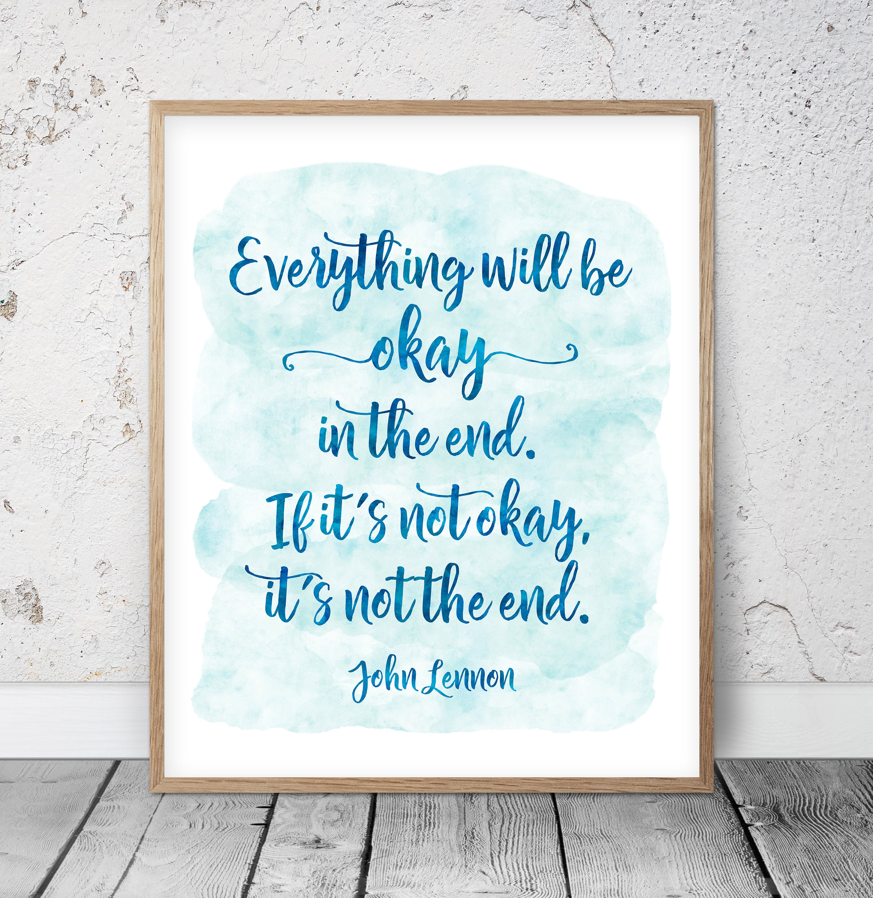 John Lennon Quote Everything Will Be Okay Typography Print Etsy