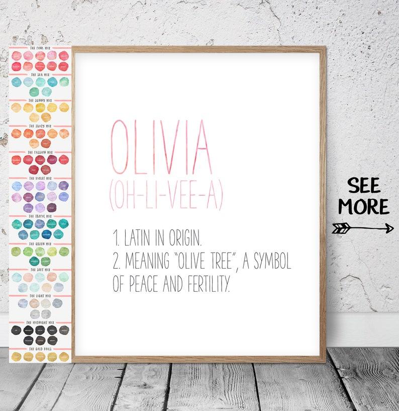 0304ea2a99f7c Custom Name Sign, Custom Name Print, Watercolor Name Art, Custom Girl Name  Sign, Custom Boy Name, Custom Nursery Name, Custom Name Meaning