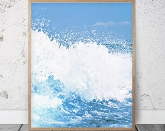 Coastal Art Print, Blue Aqua, Ocean Waves Art, Modern Minimal Photography, Beach Wall Art, Ocean Water Print Printable Digital Download Art