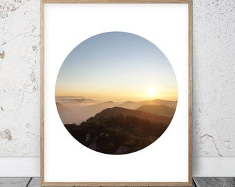Printable Mountain Art, Geometric Circle Mountain Print, Mountain Decor, Mountain Photorgaphy, Skyline Wall Art, Minimalist Circle Print Art