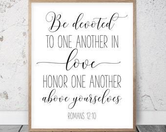 Be Devoted To One Another In Love, Romans 12:10, Bible Verse Printable Wall Art, Christian Gifts, Nursery Decor, Scripture Prints, Kids Room