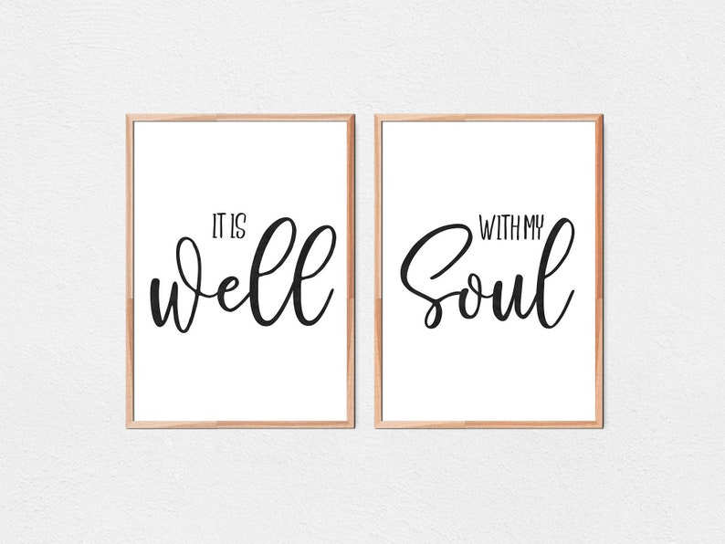 It Is Well With My Soul Scripture Quote Bible Verse Art Etsy