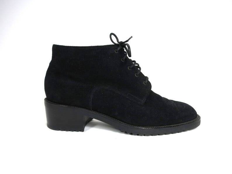 a2323e5a85f Bally Black Suede Lace Up Flat Ankle Boot Bootie Size 5