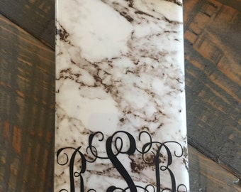 Monogram Black and White marble iphone case