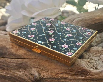 Wand art hand painted compact/vintage compact/40's compact/vintage makeup/powder compact/mirror compact/makeup/powder makeup compact