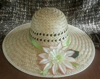 927e7771993 Straw sun hat vintage sun hat women s sun hat straw hats gardening hats straw  floral hat women s hats gifts house decor art decor hats