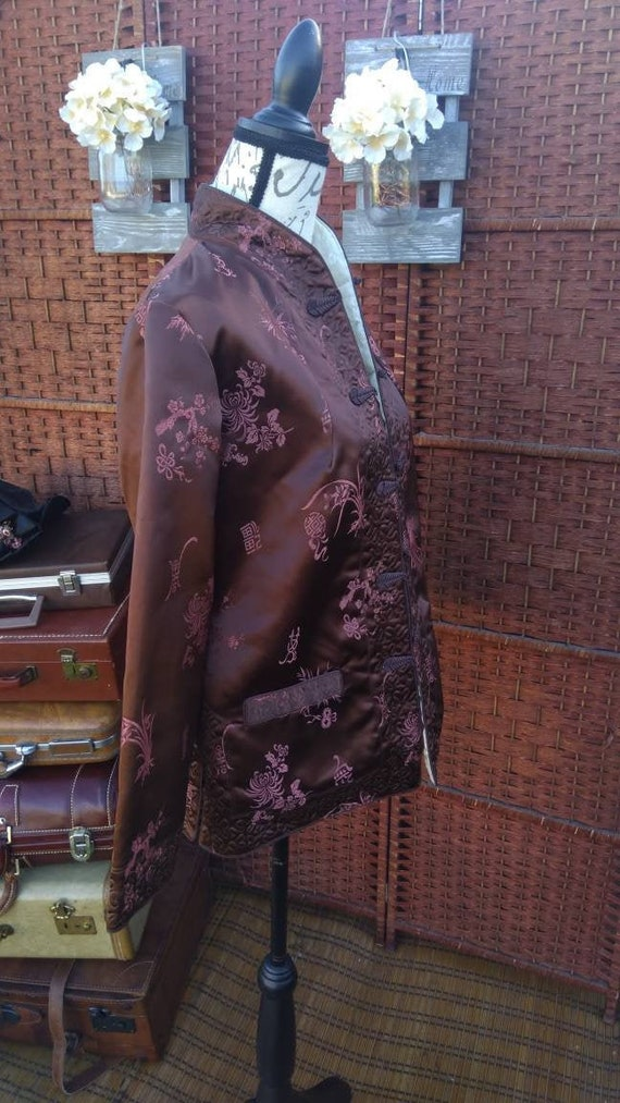 Brown pink oriental kimono style jacket from the 7