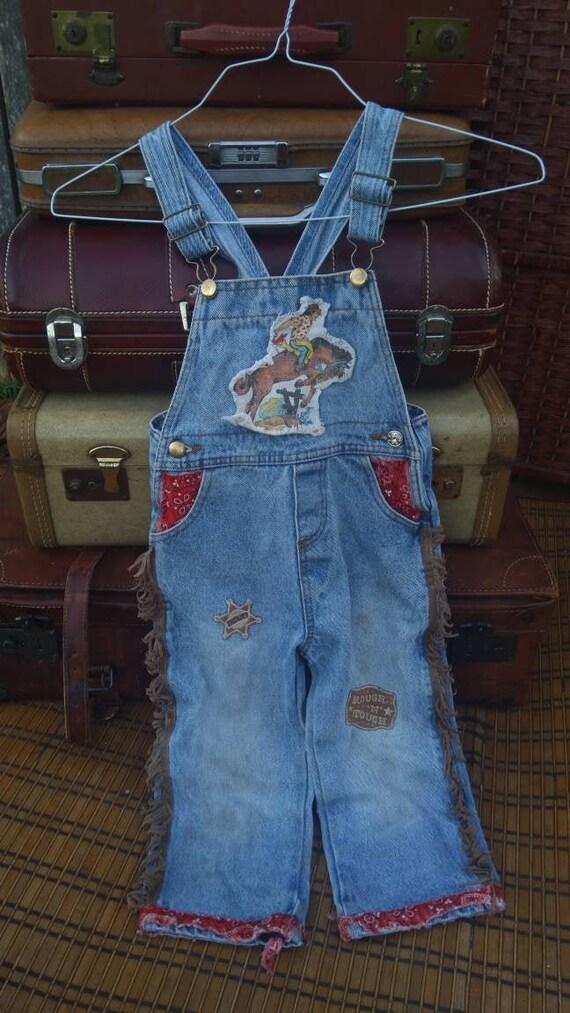 Toddler cowboy overalls/vintage kids clothing/kids