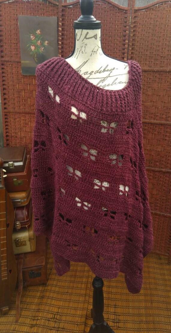 Soft purple crochet poncho/purple poncho/women's p