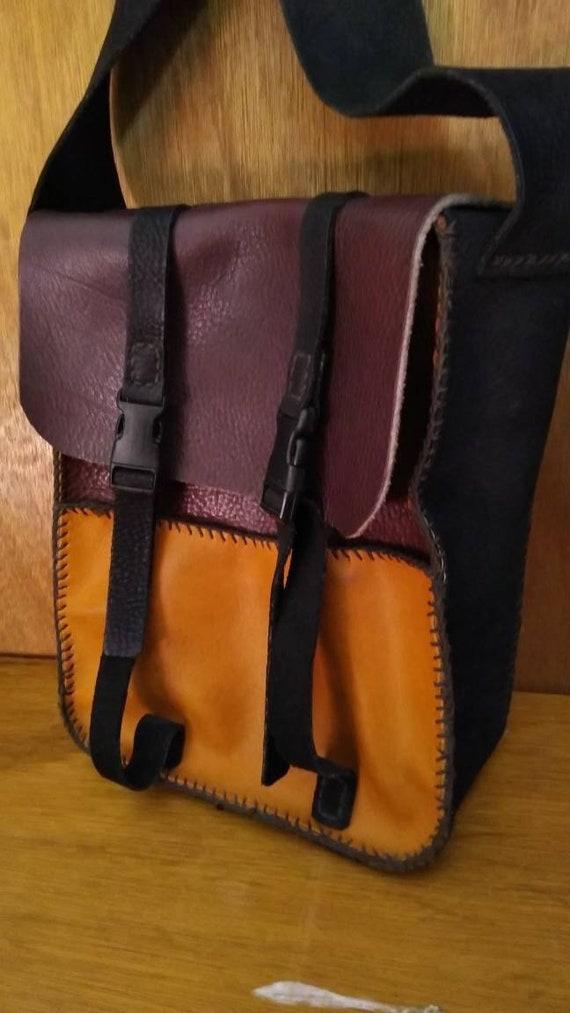 Vintage leather handmade messenger type bag/messen