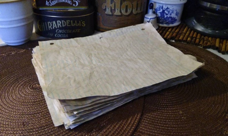 30-120 sheets of coffee dyed notebook paperhand dyed paperscoffee stained paperspapers for journalscollage papersscrap book papers