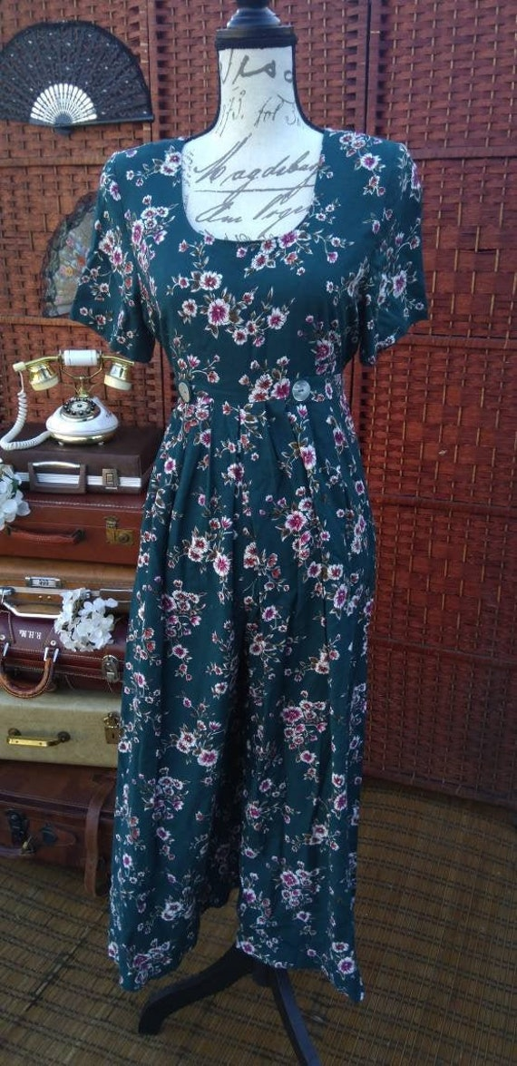 Floral 80's jump suit/floral jump suit/jeffrey and