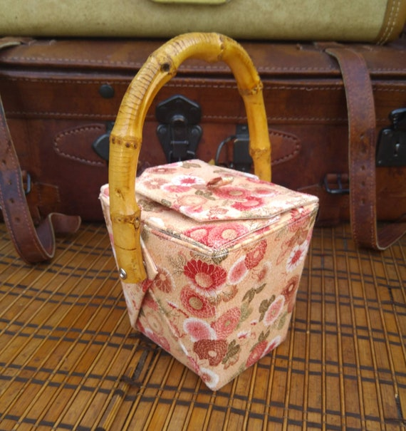 Floral take out box purse with bamboo handle/take