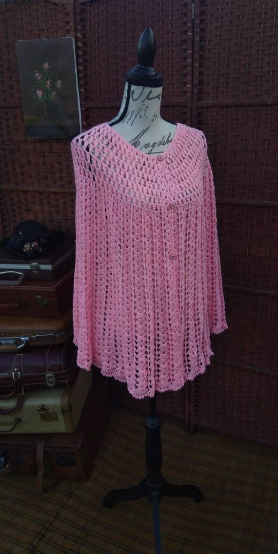 Pink knitted poncho/knitted poncho/vintage poncho/
