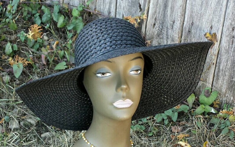 7e6b701617b Black straw sun hat vintage hats sun hats beach hat black