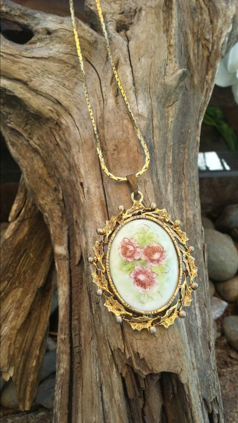 Gold tone rose cameo necklacegold tone necklacecameo type necklacegold tone jewelryrose cameovintage jewelrygifts for her