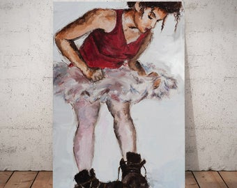 Ballerina Boots, Ballerina painting, be yourself, be original, you be you, tom boy art, painting for misfits