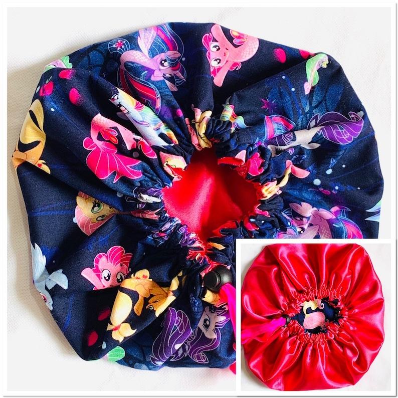LITTLE PONY Hair Bonnet Satin Hair Bonnet Girls bonnet Kid bonnet,Kid reversible bonnet,Baby bonnet,Satin bonnet,Purple satin bonnet