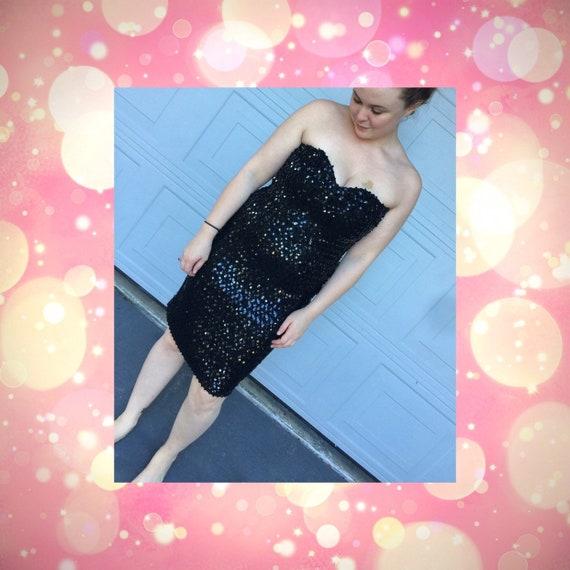 1980s Strapless Black Tank Dress