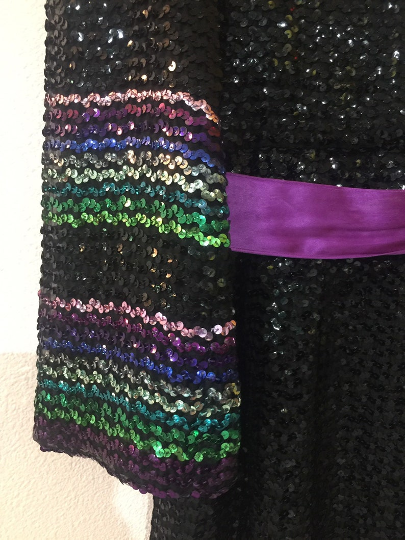 Vintage 1960s The Needle Craft Sequined Long Cocktail Dress