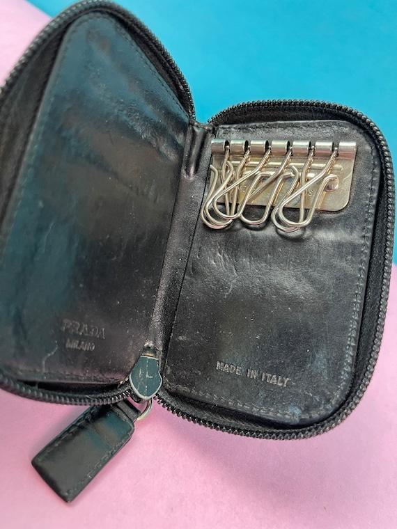 Vintage 1990s Black Leather Key Fob By Prada - image 5