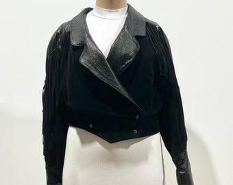 Vintage 80s Womens Suede + Leather Oversized Jacket with Full Fringe