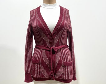 Vintage 60s Chevron + Stripe Button Front Cardigan Sweater by Marbella